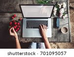 workspace with girl's hands ... | Shutterstock . vector #701095057
