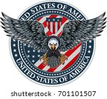 american eagle with usa flags  | Shutterstock .eps vector #701101507