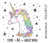 the cute magic unicorn and... | Shutterstock .eps vector #701128717