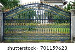 strong steel fence beautiful... | Shutterstock . vector #701159623