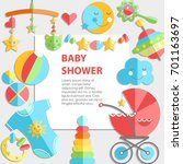 flat infancy bacground. baby... | Shutterstock . vector #701163697