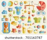 newborn infant themed cute flat ... | Shutterstock . vector #701163787