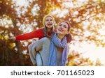 Happy Family On Autumn Walk ...
