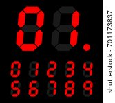 red digital number signs made... | Shutterstock .eps vector #701173837