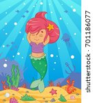 cute little mermaid on the sea... | Shutterstock .eps vector #701186077