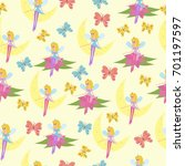 pattern with fairy flying... | Shutterstock .eps vector #701197597