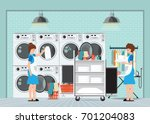 maid loading laundry washing... | Shutterstock .eps vector #701204083
