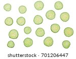 Cucumber Slices Isolated On...