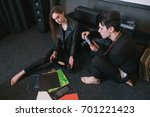 hipsters take picture of their... | Shutterstock . vector #701221423
