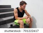 smartwatch runner man checking... | Shutterstock . vector #701222617