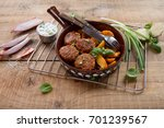 pork or turkey meat balls with...   Shutterstock . vector #701239567