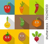 smiling vegetables icons set.... | Shutterstock .eps vector #701240533