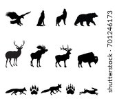 forest animals silhouettes  ... | Shutterstock .eps vector #701246173