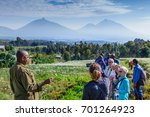 Small photo of Volcanoes National Park , Rwanda, 20 January 2017, A group of tourists and gide climbing up the slopes to Gorillas, majestic landscape with chamomile fields, mountains , blue sky and clouds