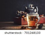 tea with spices on a wooden... | Shutterstock . vector #701268133