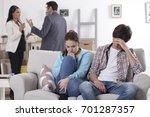 family scene. parents divorce... | Shutterstock . vector #701287357