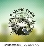 bass fishing emblem on blur... | Shutterstock .eps vector #701306773