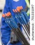 Small photo of COPENHAGEN, DENMARK - JULY 2015: Quiver with arrows for archery.