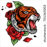 Stock vector vector illustration of roaring tiger head and roses tattoo 701365003