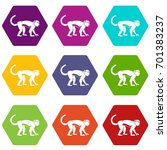 macaque icon set many color... | Shutterstock .eps vector #701383237
