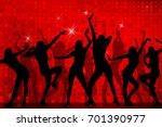 silhouettes of dancing girls.... | Shutterstock .eps vector #701390977