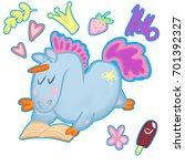 set of stickers funny unicorn   Shutterstock . vector #701392327