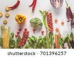 different ripe fresh vegetables ... | Shutterstock . vector #701396257