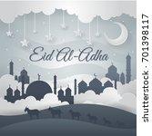 modern paper art islamic eid al ... | Shutterstock .eps vector #701398117