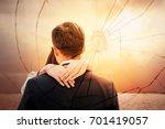 lovers back hugging over... | Shutterstock . vector #701419057