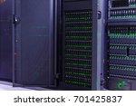 dark server room of modern data ... | Shutterstock . vector #701425837