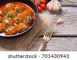 pork meatballs with parsley in... | Shutterstock . vector #701430943
