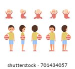 front  side  back view animated ... | Shutterstock .eps vector #701434057