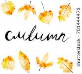 autumn season background with... | Shutterstock .eps vector #701444473