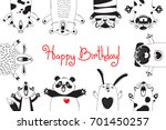 birthday card with funny... | Shutterstock .eps vector #701450257