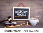 Small photo of Mediation Process concept. Dispute Communication Closure. Chalkboard on a wooden background