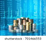 investment concept  coins graph ... | Shutterstock . vector #701466553