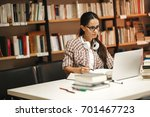 young female student study in... | Shutterstock . vector #701467723