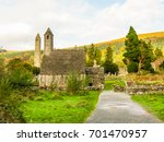 Stock photo monastic site glendalough glendalough valley wicklow mountains national park ireland 701470957