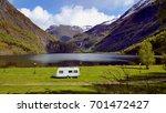 one lone caravan blocking the... | Shutterstock . vector #701472427