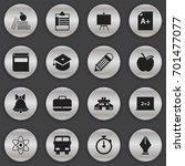 set of 16 editable school icons.... | Shutterstock .eps vector #701477077