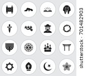 set of 16 editable religion... | Shutterstock .eps vector #701482903