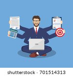 businessman with multitasking... | Shutterstock .eps vector #701514313