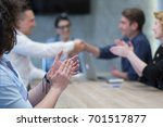business partner shake hands on ... | Shutterstock . vector #701517877
