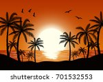 silhouette palm tree on beach... | Shutterstock . vector #701532553