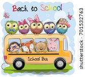 school bus and four cute... | Shutterstock .eps vector #701532763