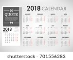 Calendar For 2018 On White...