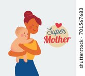 mother hugging baby  babysitter ... | Shutterstock .eps vector #701567683