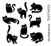 set of black cats. collection... | Shutterstock .eps vector #701574523