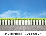 white wooden fence and wooden... | Shutterstock . vector #701583637