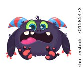 angry cartoon black monster.... | Shutterstock .eps vector #701585473